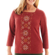 Alfred Dunner® Avondale Road 3/4-Sleeve Embroidered Sweater