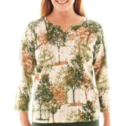 Alfred Dunner® Avondale Road 3/4-Sleeve Tree Scene Sweater