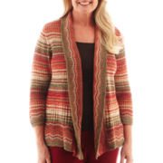 Alfred Dunner® Avondale Road Space-Dyed Striped Cardigan Sweater