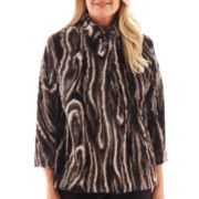 Alfred Dunner® Manhattan Skyline 3/4-Sleeve Faux-Fur Jacket