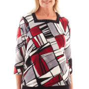 Alfred Dunner® Manhattan Skyline 3/4-Sleeve Abstract Patch Print Knit Top