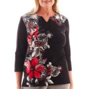Alfred Dunner® Manhattan Skyline Asymmetric Scroll Floral Knit Top
