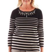Alfred Dunner® Manhattan Skyline 3/4-Sleeve Embellished Striped Sweater