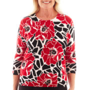 Alfred Dunner® Manhattan Skyline 3/4-Sleeve Floral Print Sweater