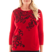 Alfred Dunner® Manhattan Skyline Scroll Print Knit Top
