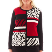 Alfred Dunner® Manhattan Skyline Long-Sleeve Animal Colorblock Sweater
