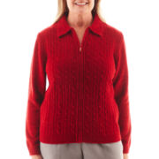Alfred Dunner® Manhattan Skyline Long-Sleeve Solid Chenille Sweater