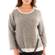 Alyx® 3/4-Sleeve French Terry Zipper Top - Plus