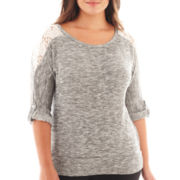 Alyx® 3/4-Sleeve Marled Lace-Trim Top - Plus