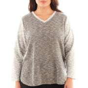Alyx® 3/4-Sleeve French Terry V-Neck Top - Plus