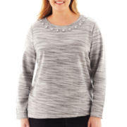 St. John's Bay® Long-Sleeve Necklace Interloop Sweatshirt - Plus