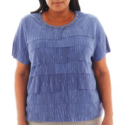 Alfred Dunner® Lake Como Short-Sleeve Tiered-Ruffle Top - Plus