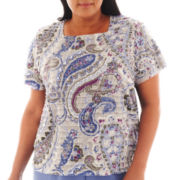 Alfred Dunner® Lake Como Short-Sleeve Tiered Paisley Print Top - Plus