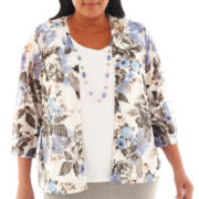 Alfred Dunner® Lake Como 3/4-Sleeve Layered Top with Necklace - Plus