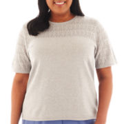 Alfred Dunner® Lake Como Short-Sleeve Textured Sweater Shell - Plus