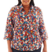 Alfred Dunner® San Antonio 3/4-Sleeve Mini Flower Print Blouse - Plus