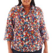 Alfred Dunner® San Antonio 3/4-Sleeve Mini Flower Print Blouse - Plus