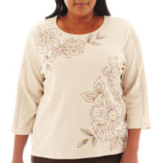 Alfred Dunner® San Antonio 3/4-Sleeve Floral Lace-Trim Top - Plus