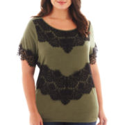 a.n.a® Short-Sleeve Lace-Blocked Top - Plus