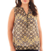a.n.a® Sleeveless Hi-Low Henley Tunic - Plus