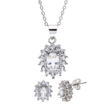 jcpenney.com | Sparkle Allure™ Cubic Zirconia Silver-Plated Earring and Pendant Necklace Set