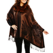 Faux-Fur Collar Brown Jacquard Wrap
