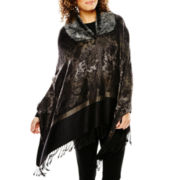 Faux-Fur Collar Gray Jacquard Wrap