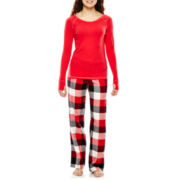 Flirtitude® Long-Sleeve Top and Pants Flannel Pajama Set