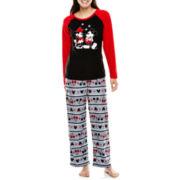 Mickey and Minnie Long-Sleeve Top and Pants Microfleece Pajama Set