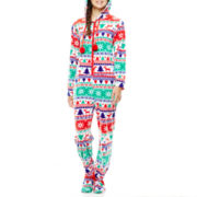 PJ Couture® Long-Sleeve Holiday One-Piece Footed Pajamas