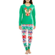 PJ Couture® Long-Sleeve Tee and Pants Microfleece Pajama Set