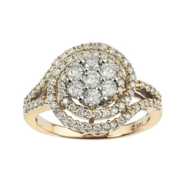jcpenney.com | diamond blossom 1 CT. T.W. Diamond 14K Two-Tone Gold Swirl Cluster Ring