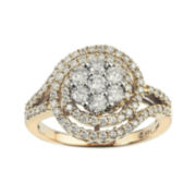 diamond blossom 1 CT. T.W. Diamond 14K Two-Tone Gold Swirl Cluster Ring