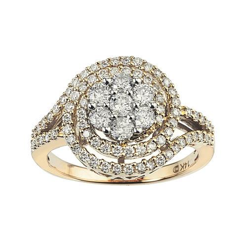 diamond blossom 1 CT. T.W. Diamond 14K Two-Tone Gold Swirl Cluster Ring