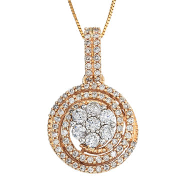 jcpenney.com | diamond blossom 1 CT. T.W. Diamond 14K Two-Tone Gold Swirl Cluster Pendant Necklace