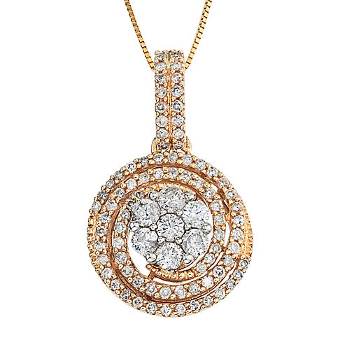 diamond blossom 1 CT. T.W. Diamond 14K Two-Tone Gold Swirl Cluster Pendant Necklace