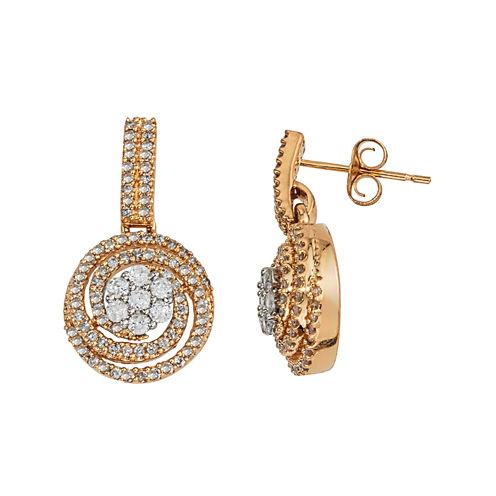 diamond blossom 1 CT. T. W. Diamond 14K Two-Tone Gold Swirl Cluster Earrings
