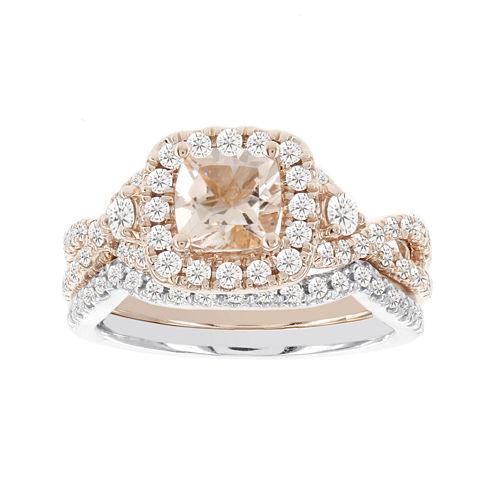 Blooming Bridal Genuine Cushion-Cut Morganite and Diamond 14K Rose Gold Bridal Ring Set