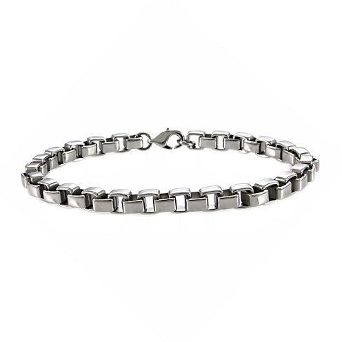 """Mens Stainless Steel 8½"""" 5mm Box Chain Bracelet"""