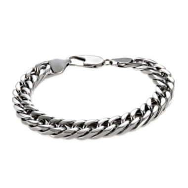 "jcpenney.com | Mens Stainless Steel 9"" 9mm Flat Curb Chain Bracelet"