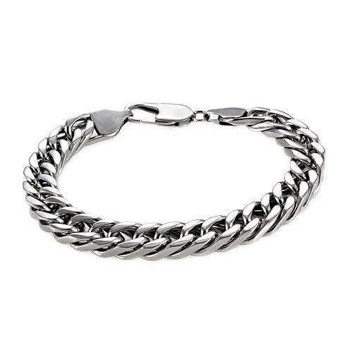 """Mens Stainless Steel 9"""" 9mm Flat Curb Chain Bracelet"""