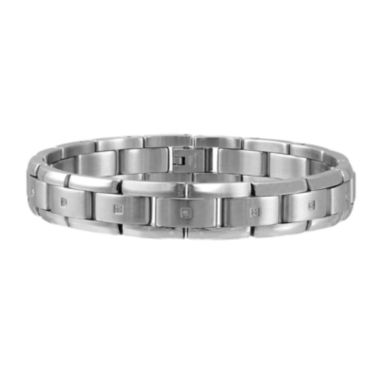 jcpenney.com | Mens 1/10 CT. T.W. Diamond Stainless Steel Link Bracelet