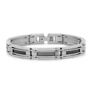 jcpenney.com | Mens Stainless Steel and Black Carbon Fiber Cable Link Bracelet