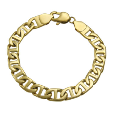 "jcpenney.com | Mens Gold-Tone Ion-Plated Stainless Steel 8½"" 10mm Flat Mariner Chain Bracelet"