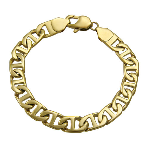 """Mens Gold-Tone Ion-Plated Stainless Steel 8½"""" 10mm Flat Mariner Chain Bracelet"""