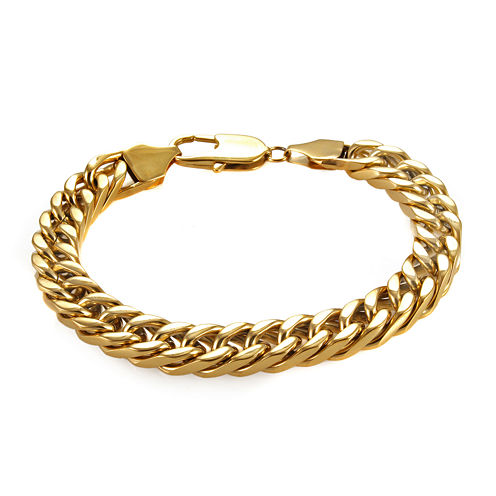 "Mens Gold-Tone Ion-Plated Stainless Steel 8¾"" 10mm Curb Chain Bracelet"