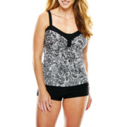 Aqua Couture Lace Print Bandeaukini Swim Top or Solid Boyshorts - Plus
