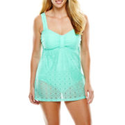 Aqua Couture Crochet Lace One-Piece Swimdress - Plus