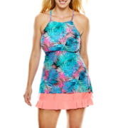 Aqua Couture High-Neck Halterkini Swim Top or Ruffled Skirtini - Plus