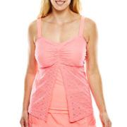 Aqua Couture Crochet Lace Flyaway Bandeaukini Swim Top - Plus